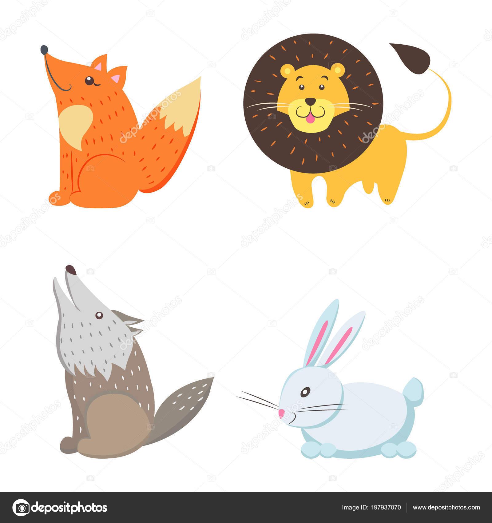 Rotfuchs, Gelber Löwe, Howling Wolf, weiße Kaninchen — Stockvektor ...