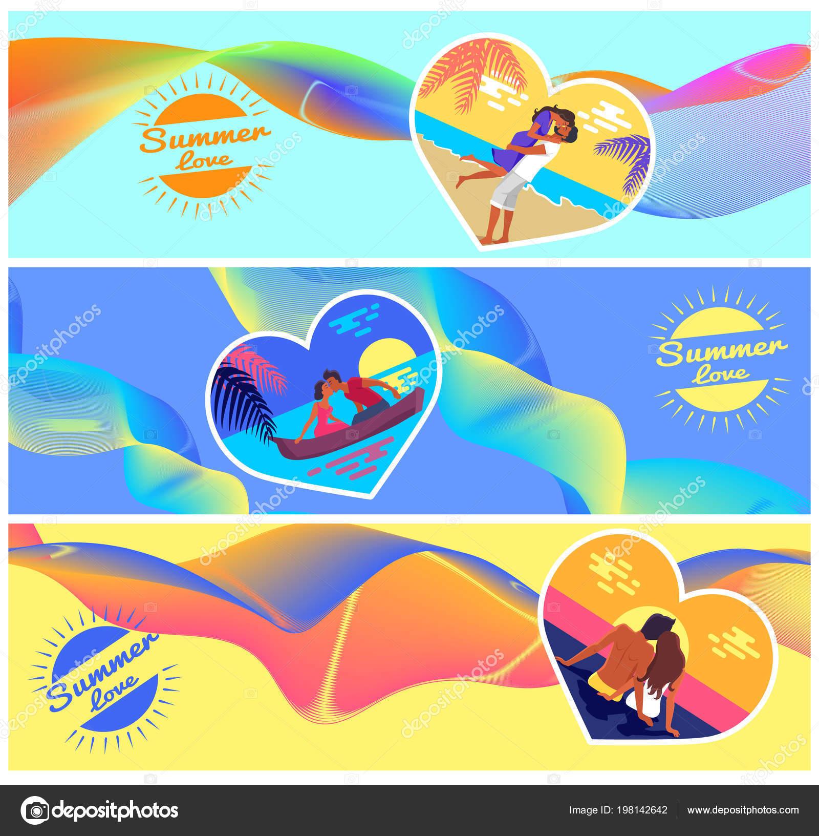 Amor de verano fotos de parejas en corazón forma marco — Vector de ...