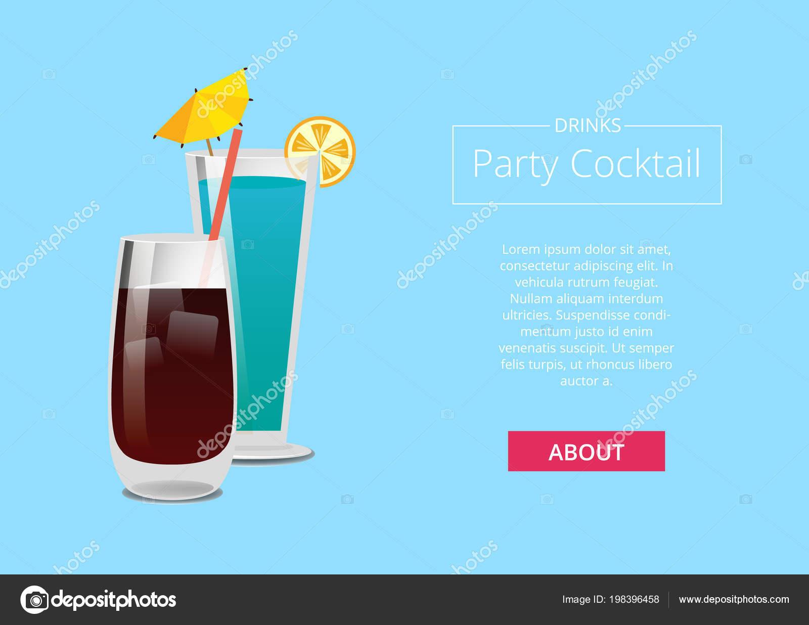 Getränke Party Cocktail Promo Poster mit Getränk — Stockvektor ...
