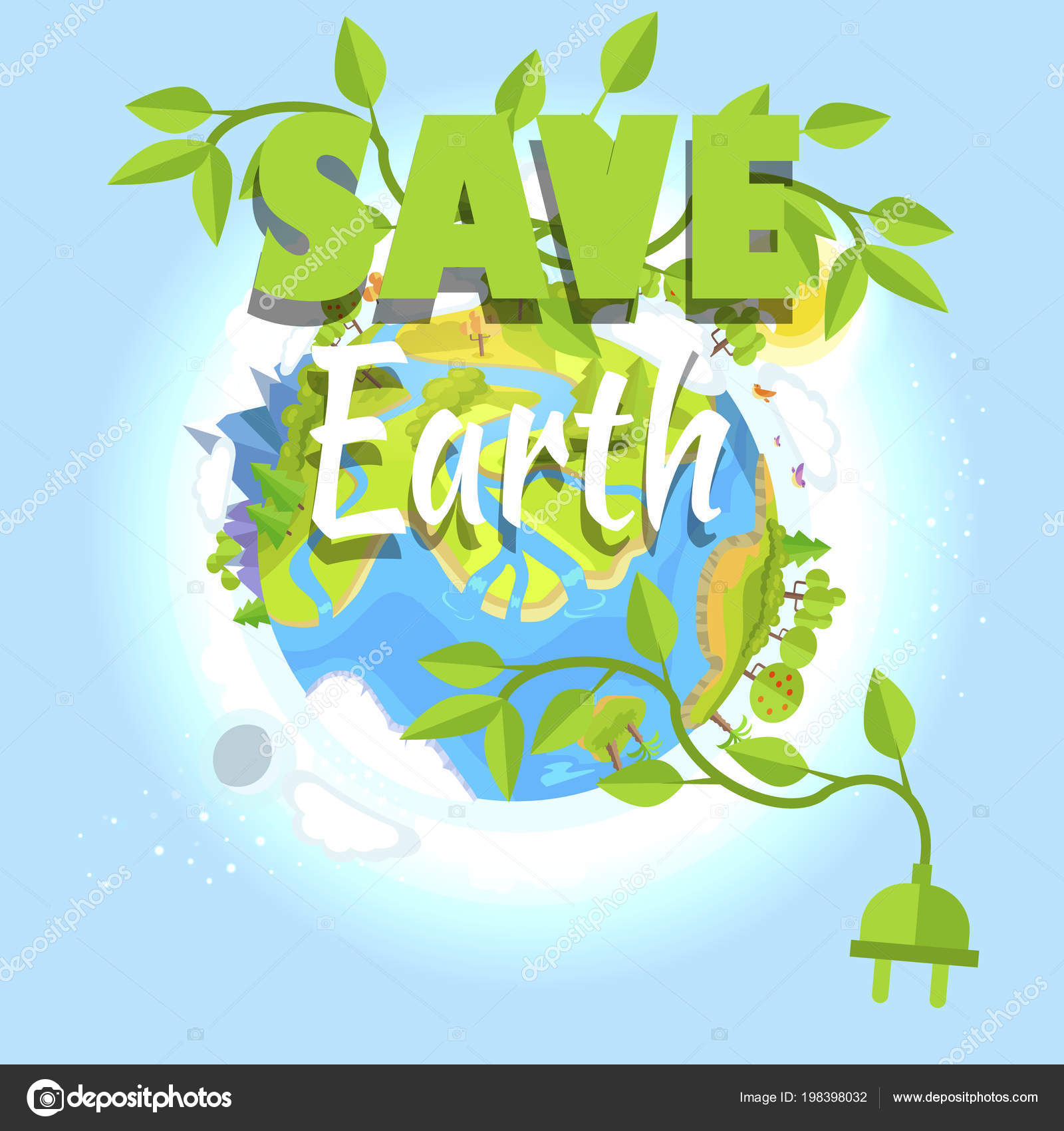 Pictures: save electricity | Save Earth Logo Design with