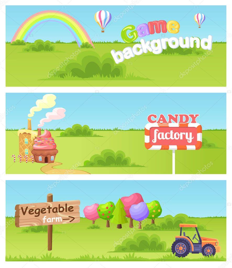 Fairy Cartoon Flat Vector Concept Landscapes Set