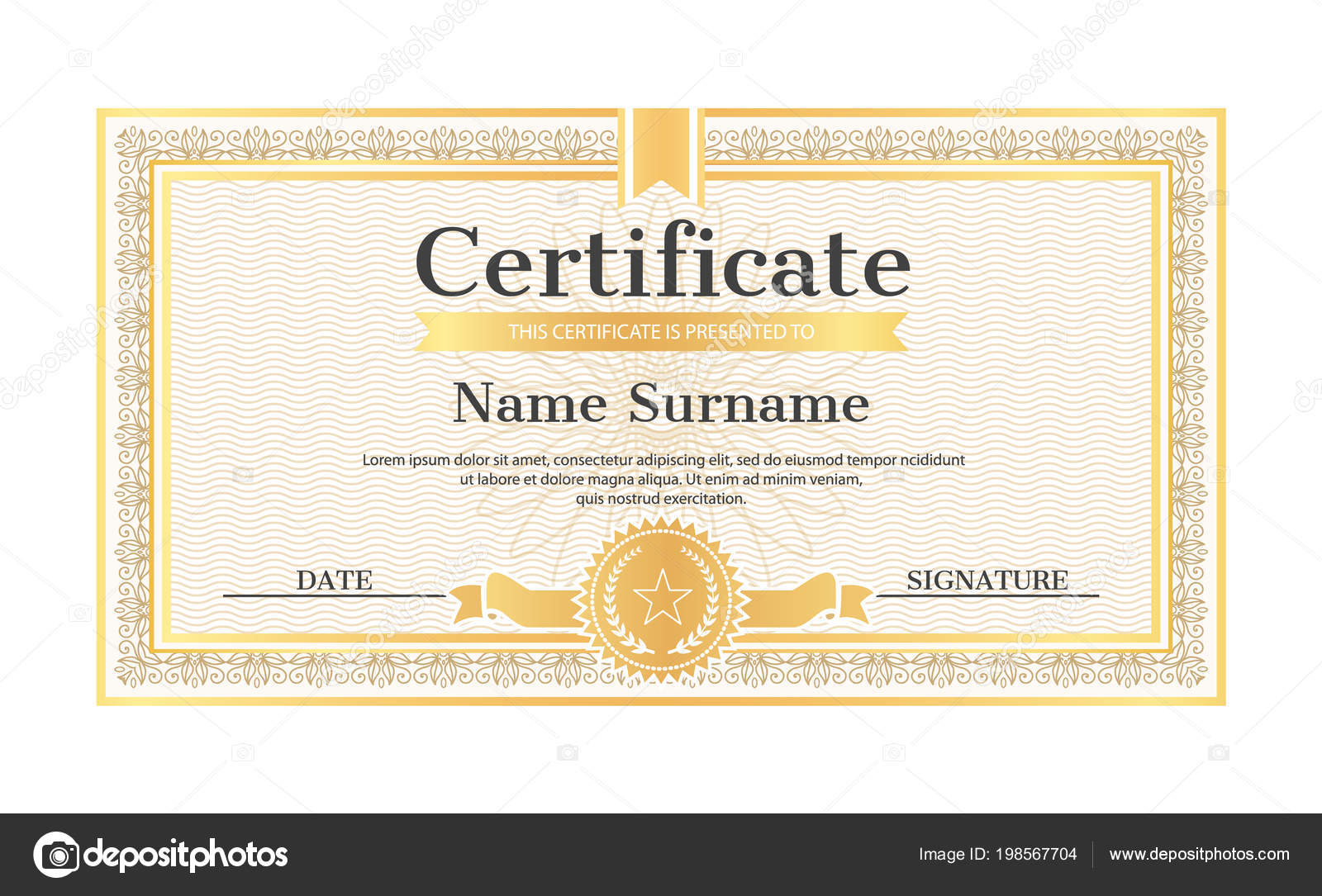 Certificate Template Editable Name Surname Date Stock Vector