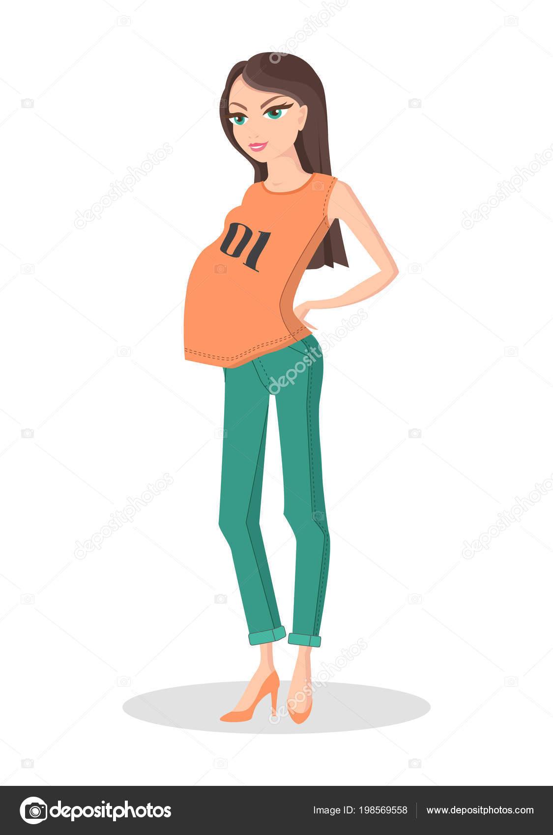 c9865123e Señora bonita en Ropa Casual de Color para el embarazo — Vector de stock