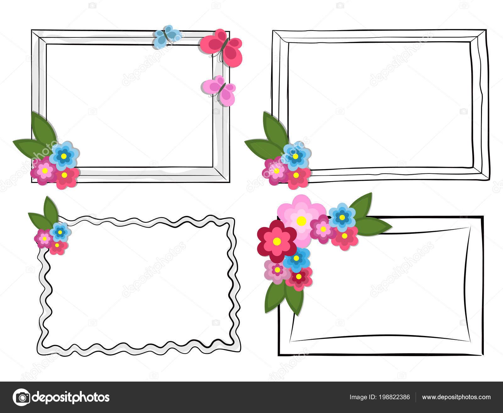 Marcos Fotos Blanco Negro Con Flores Coloridas Hermosas Batterflies ...