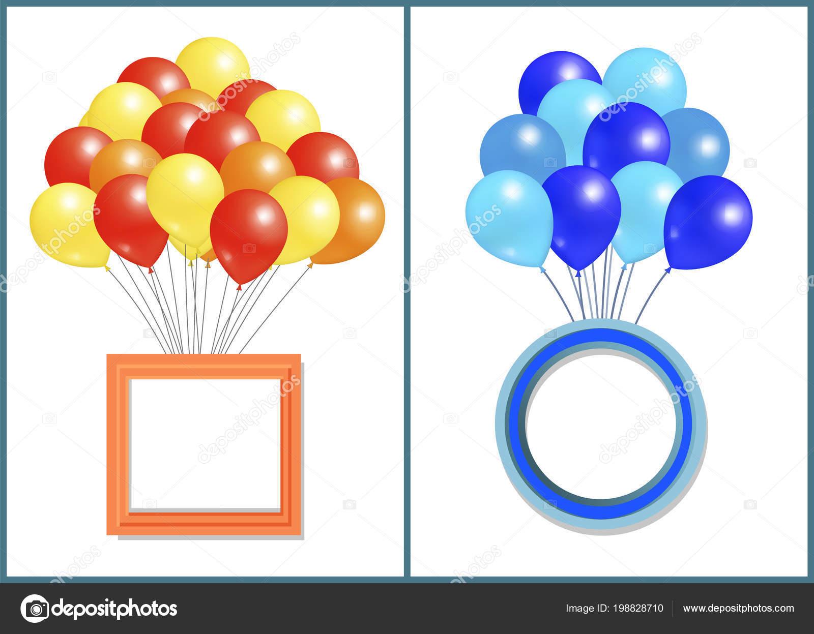 Paquete grande de globos con marco cuadrado y redondo — Vector de ...