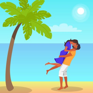 Man with beard in shorts lifts his girlfriend in purple dress and kisses on the seaside under palm tree vector illustration on background of sea and sky. stock vector