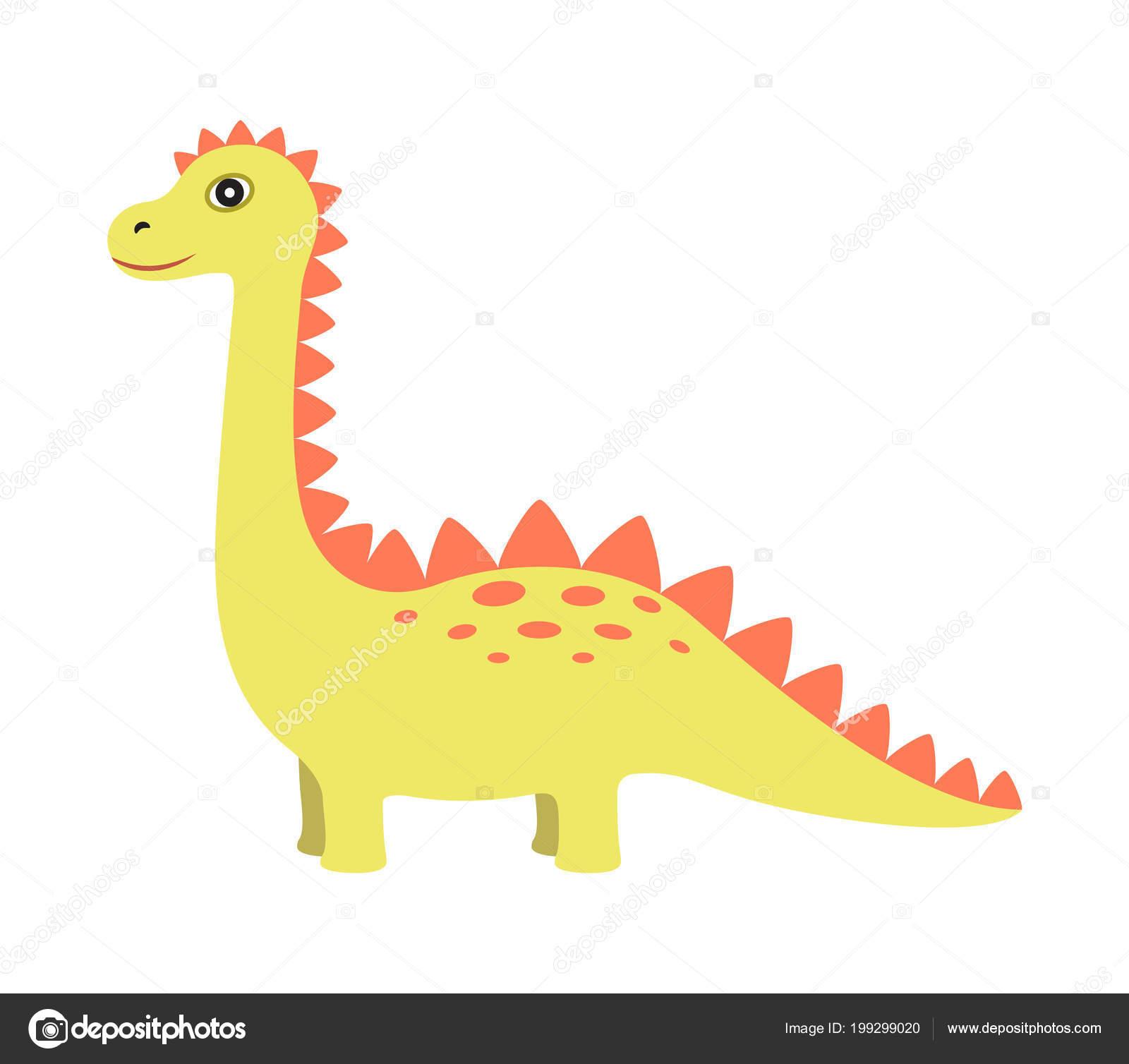 Dinosaurio de Color amarillo, ilustración vectorial — Archivo ...