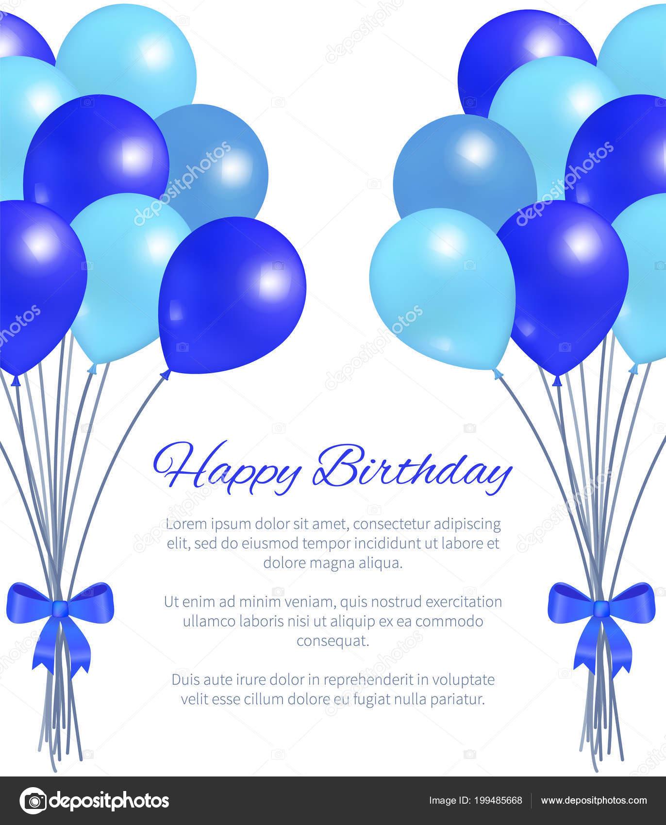 Happy Birthday Greeting Card Ballons Grosses Bundel Stockillustration