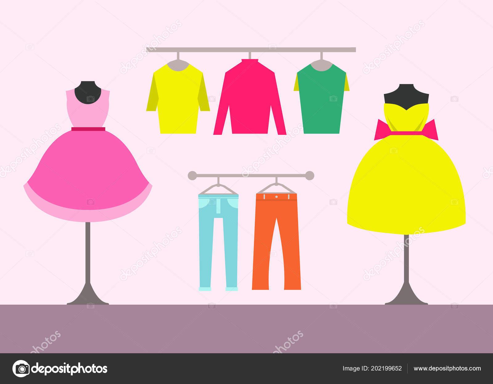 Peças Mulheres Loja Roupas Blusas Cabides Manequins Com Vestidos Calças —  Vetores de Stock 2eb006acbbe