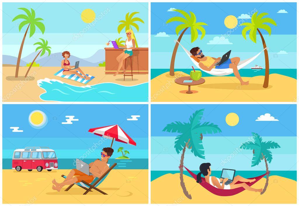 Men and Women Freelance on Beach in Summer Set