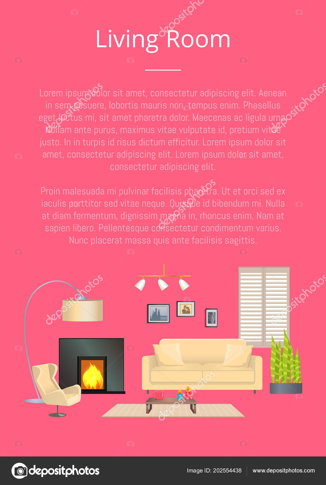 Living Room, Modern House Decoration, Color Banner — Stock Vector ...