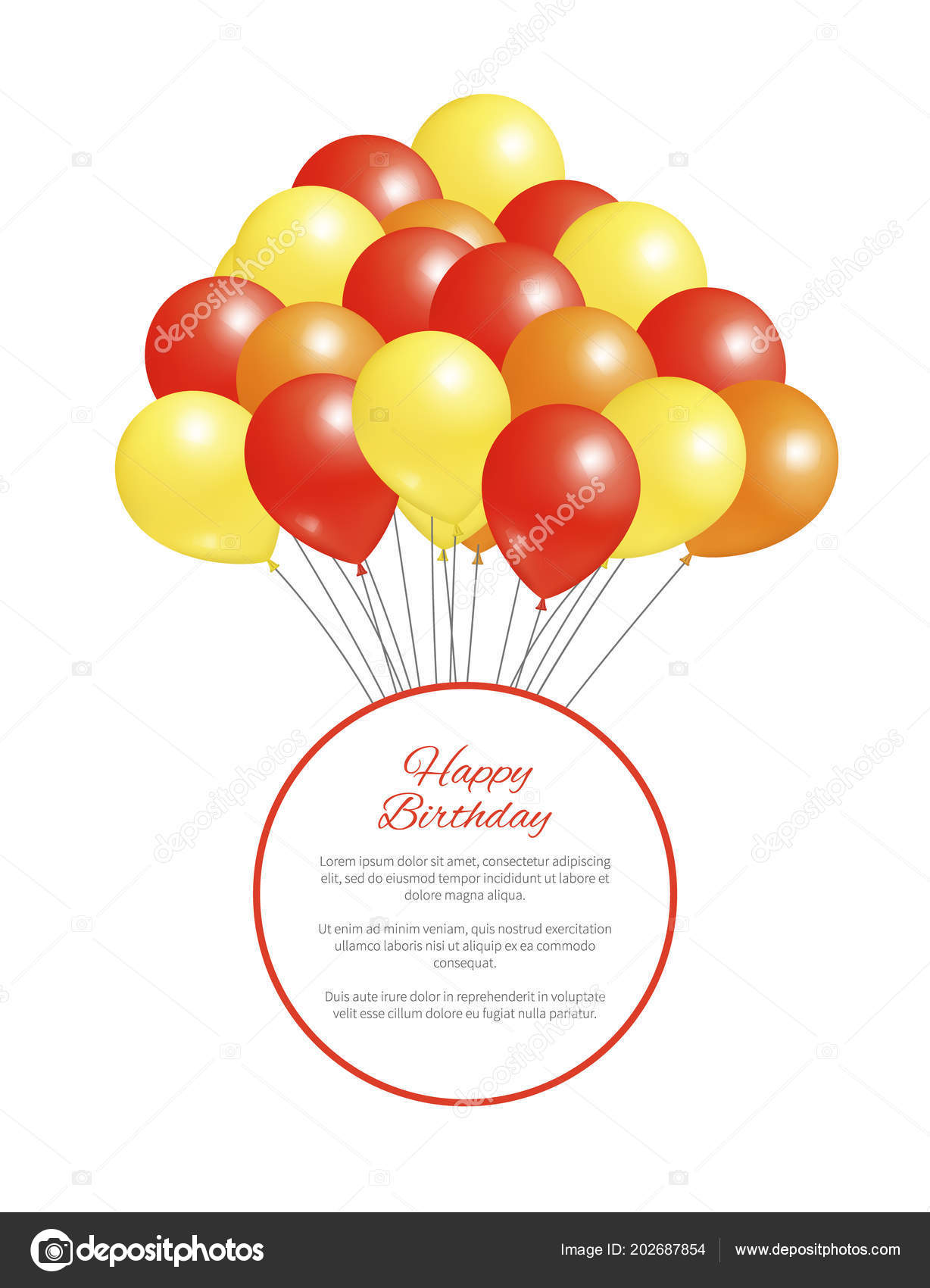 Happy Birthday Postcard Balloons Big Bundle Party Stock Vector