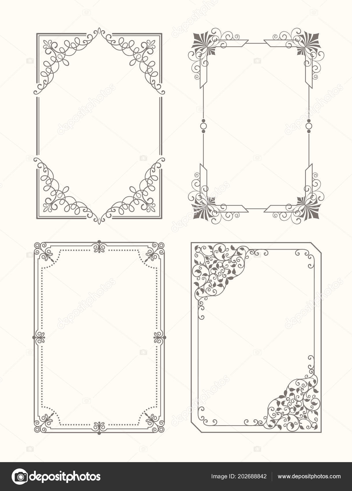 Set of Vintage Frames Decorative Border Corners — Stock Vector ...
