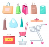 Sale Collection of Bags Carts Vector Illustration