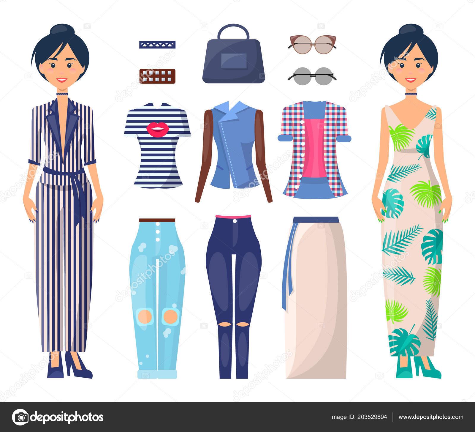 809368b76cd9 Ragazze alla moda situate in estate modalità raccolta di vestiti