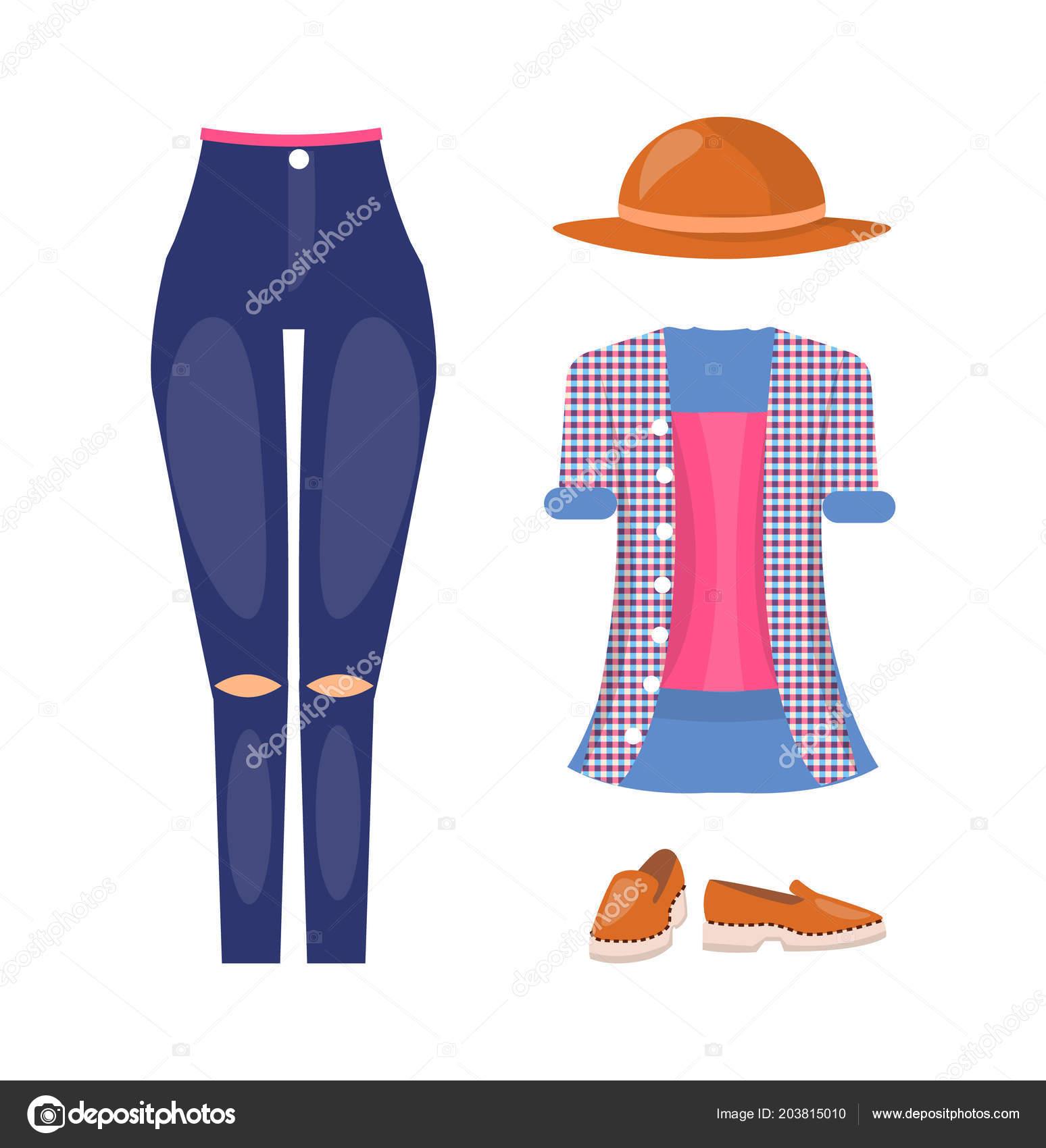 d1378aa3225aa Roupa de verão casual feminino elegante com chapéu marrom. Jeans com  joelhos rasgados