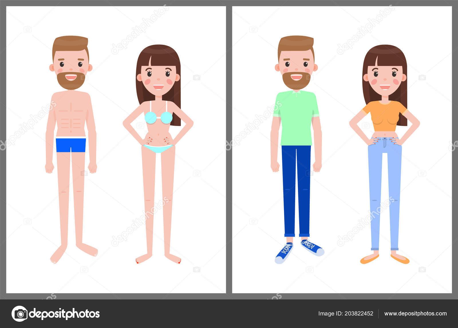 b6fc7bb770d2 Hombre y mujer en traje de baño y ropa de verano — Vector de stock ...