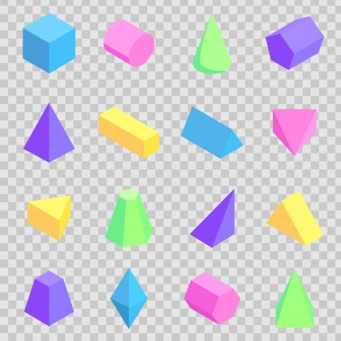 Geometric 3d Prisms Collection, Colorful Figures