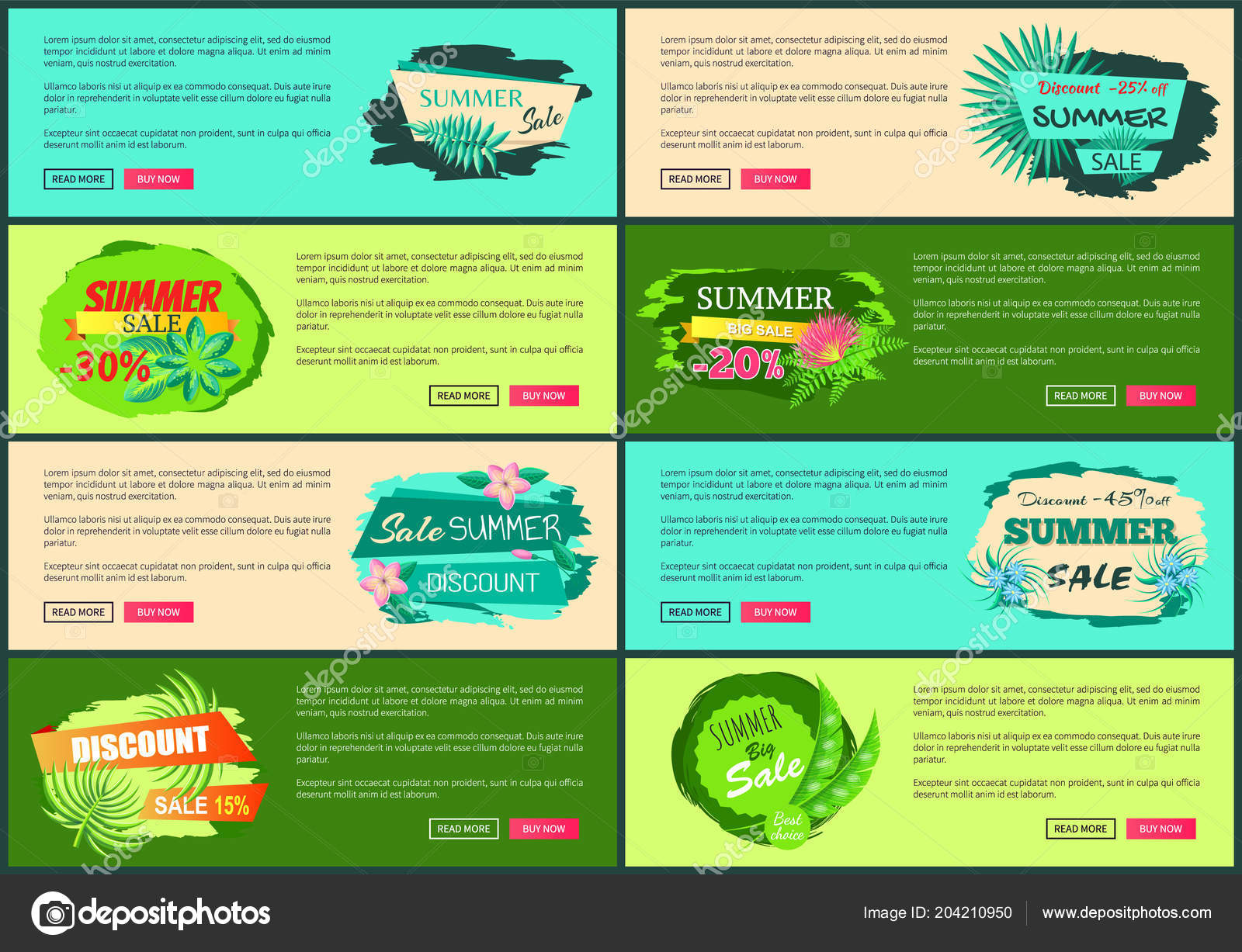 Tropical Banners Set with Push Buttons Promo Group — Stock