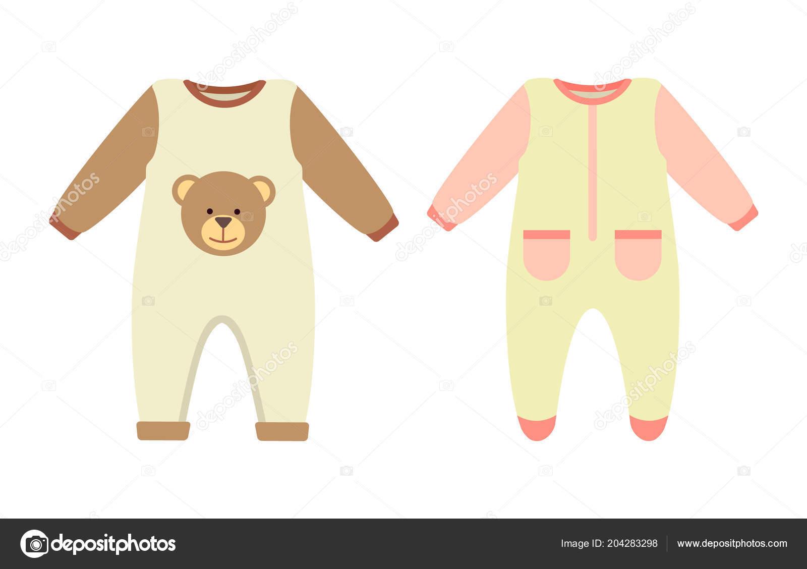 870d956d22c115 Baby kleding rompertjes ingesteld, verzameling van stretchie met print van  teddybeer en zakken, kind kleding met lange mouwen geïsoleerd op ...