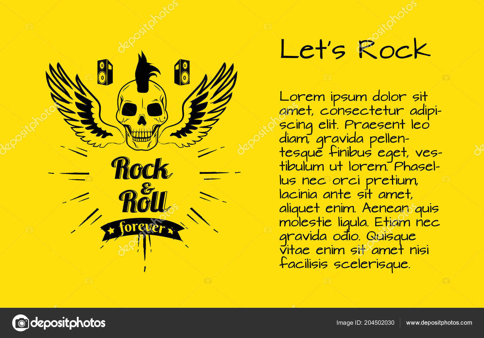Let S Rock And Rock And Roll Forever Poster Stock Vector Robuart