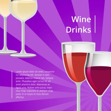 Wine Drinks Poster Pair Glasses Vector Two Drink