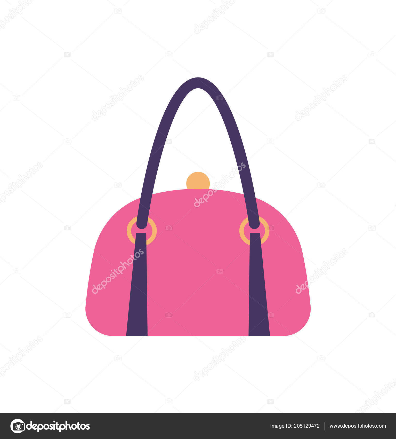 d9e2ca346b Women pink leather handbag with black handle and clips vector illustration  isolated on white. Casual bag accessory for girls