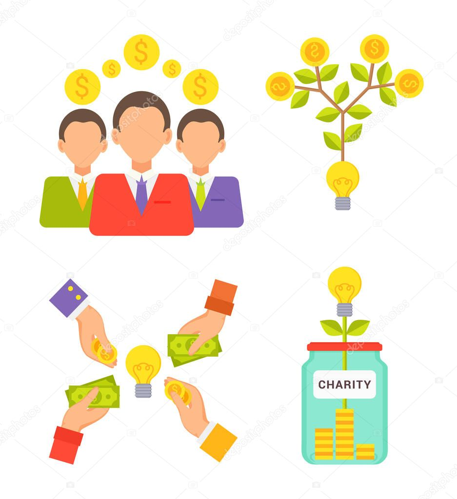 Charity Jar People with Money Vector Illustration