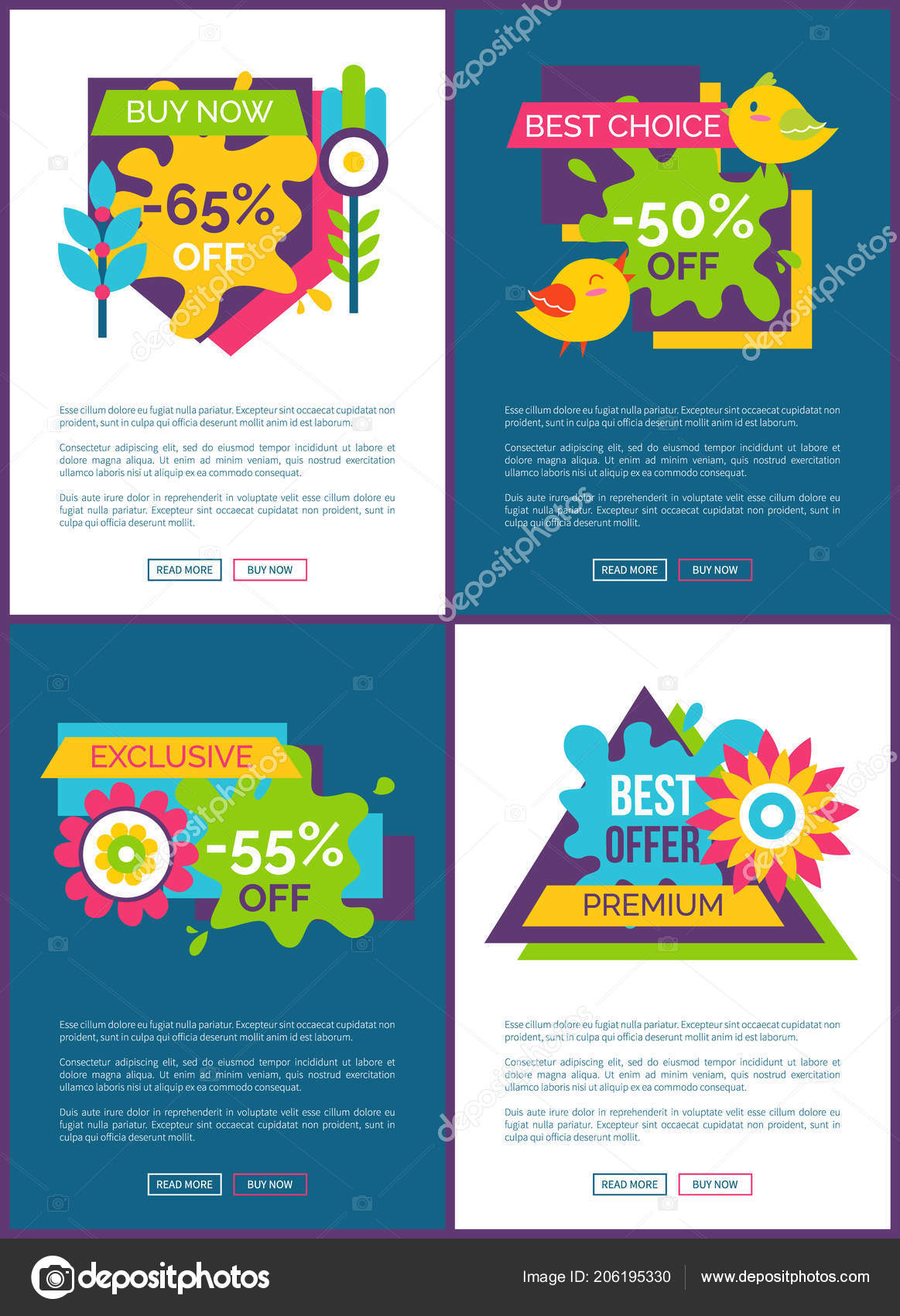 2c043afa5 Best offer with 50 off online promo banners set. Exclusive premium discount  commercial Internet pages templates. Big sale posters vector illustrations  ...