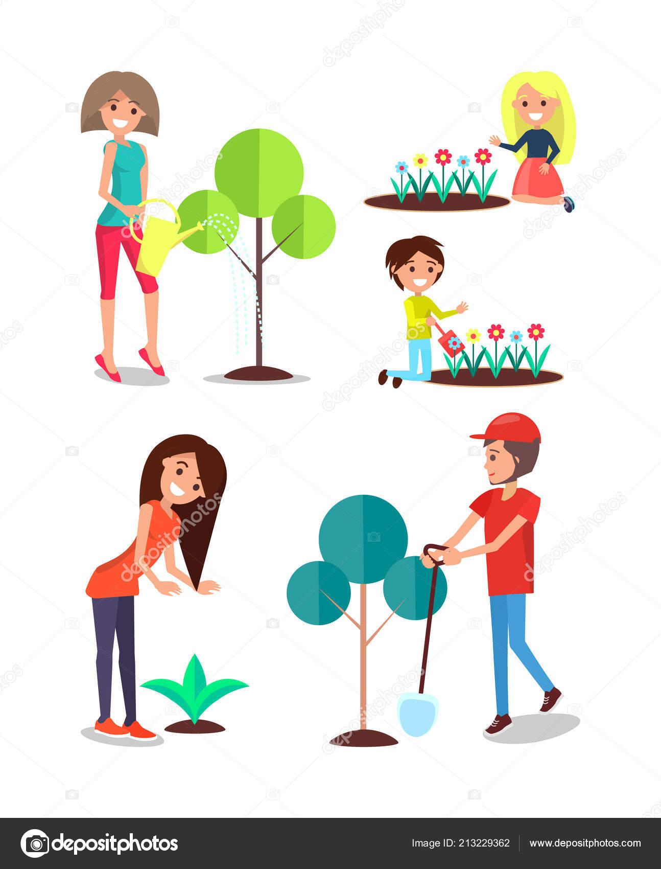 Menschen Die Anpflanzung Von Baumen Blumen Giessen Kinder