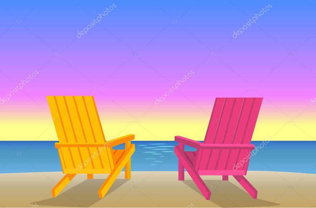 Sunbed on Beach Pair of Chaise-Lounges Coastline