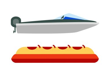 Marine and Banana Boats, Color Vector Illustration