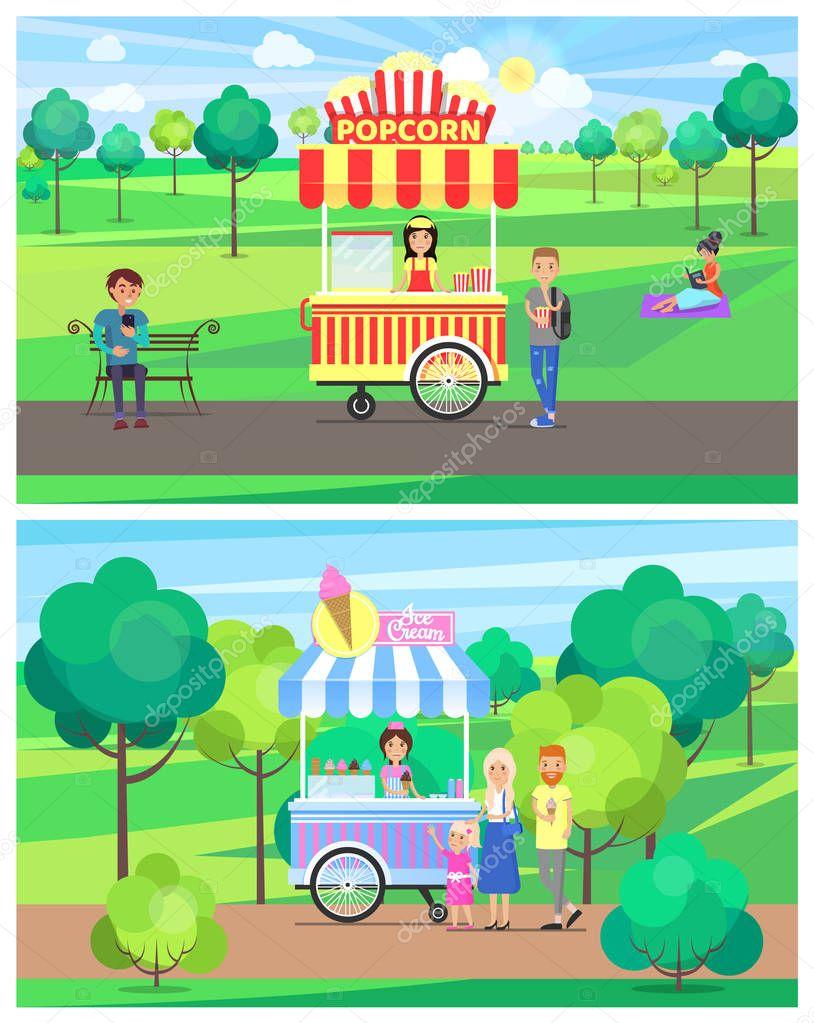 Popcorn and Ice Cream Vans in Green Summer Park