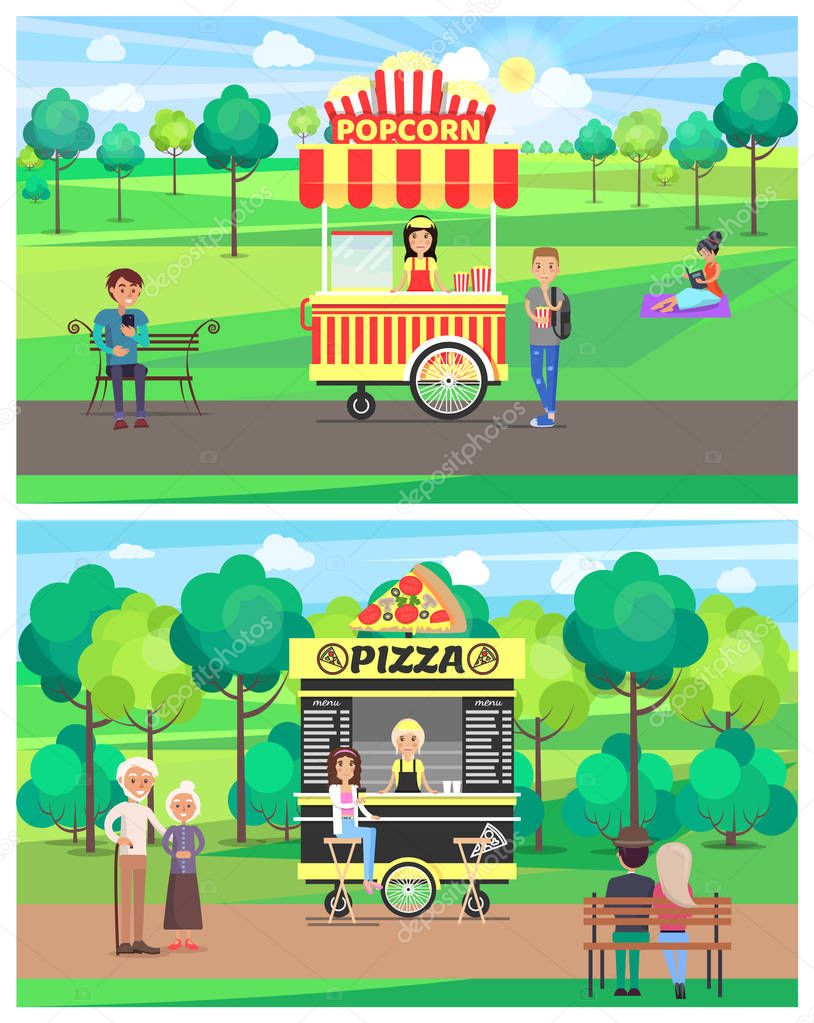 Popcorn and Pizza Shops in Green Park Color Banner