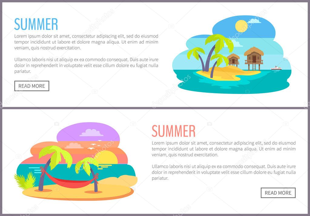 Summer Web Pages Collection Vector Illustration