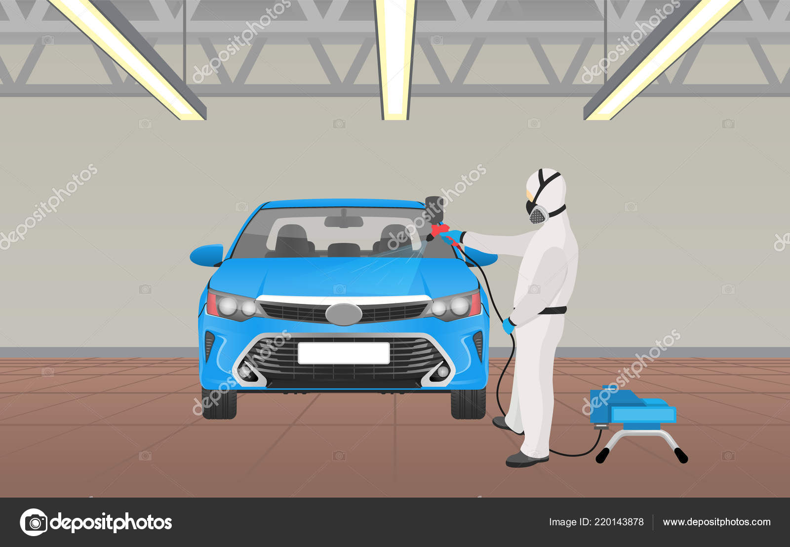 Auto Zbarveni Proces Pracovnik Vektorove Ilustrace Stock Vektor
