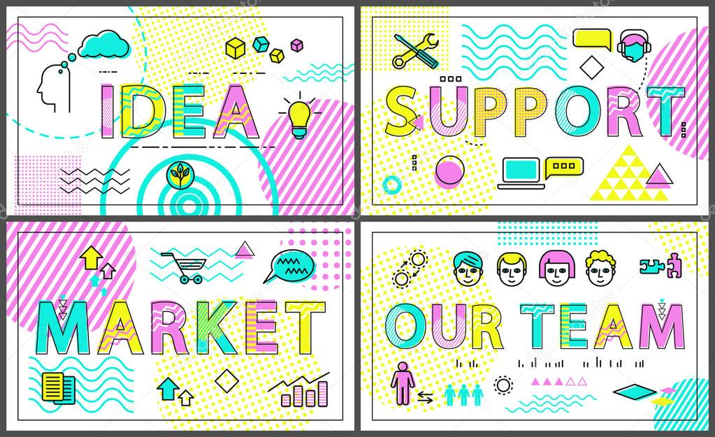 Idea and Clients Support Set Vector Illustration