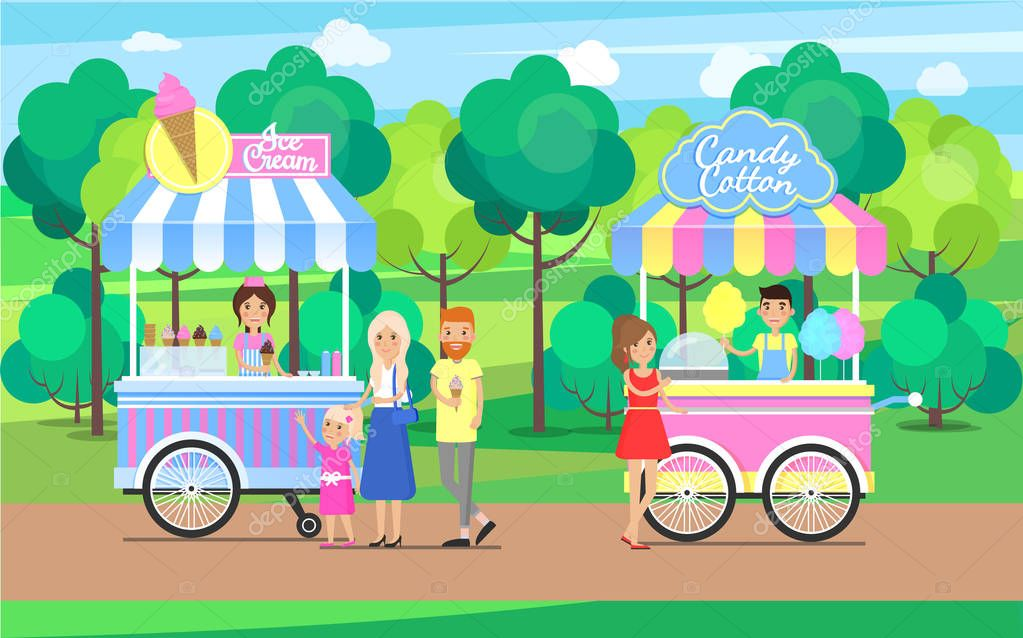 Candy Cotton and Ice Cream Sweet Food Mobile Shops