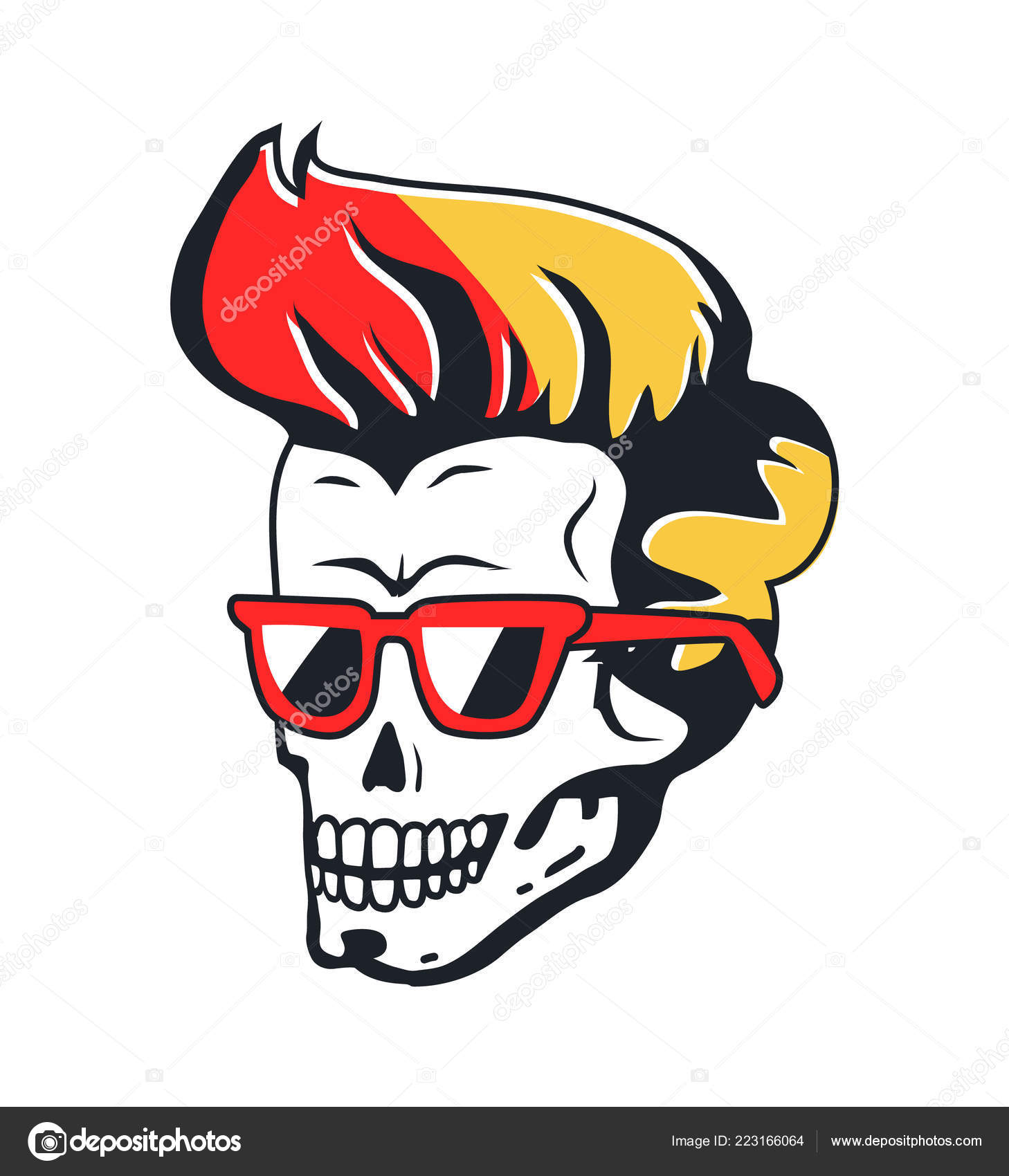 63d2bded25c Human Skull with Sunglasses and Color Hairstyle — Stock Vector ...