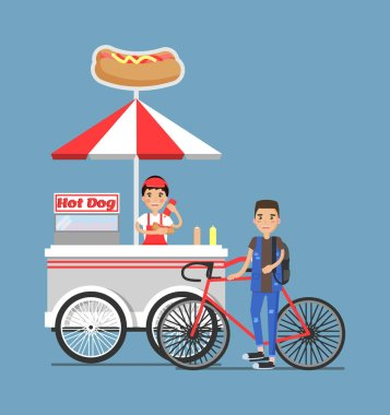 Hot-Dog Cart with Vendor in Uniform and Customer