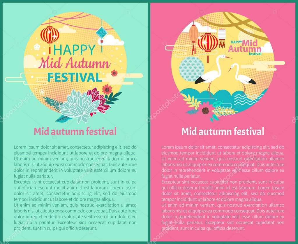 Mid Autumn Festival Posters Vector Illustration