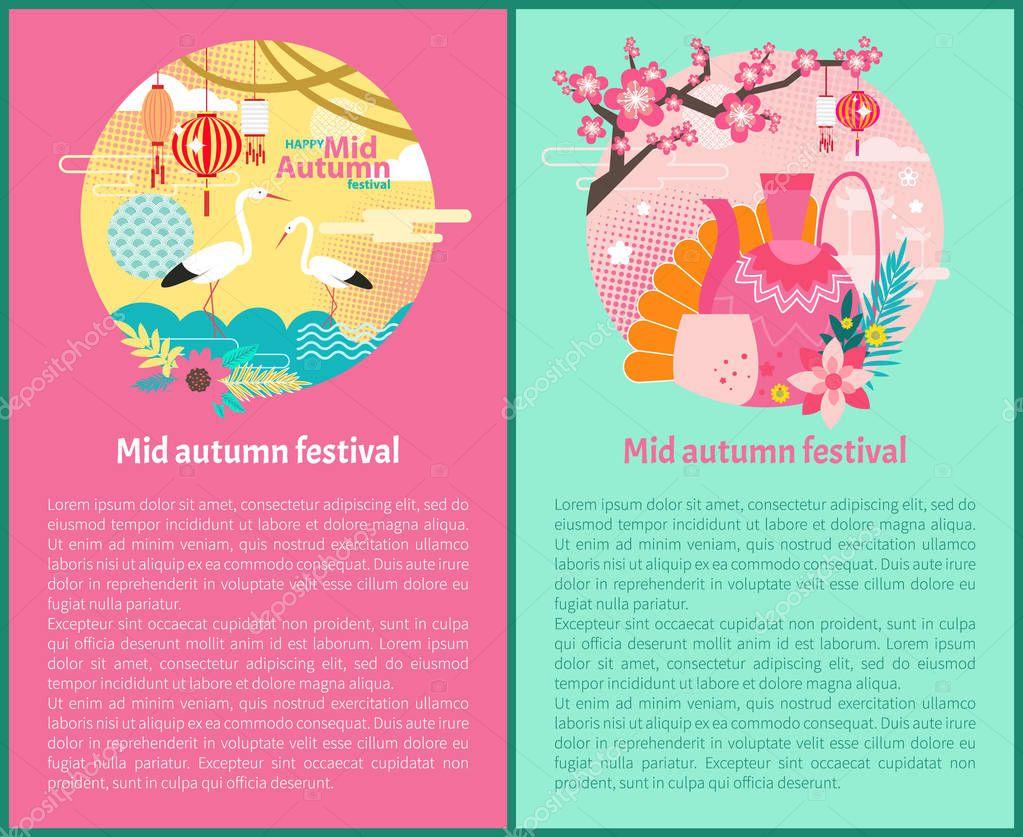 Happy Mid Autumn Festival Set Vector Illustration