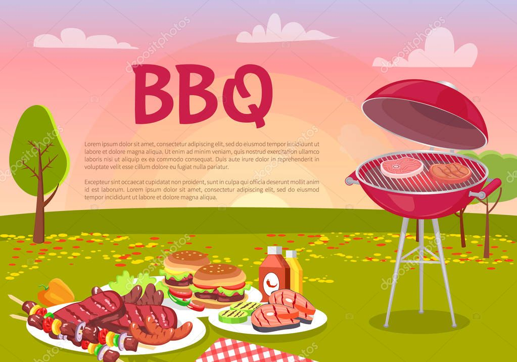 BBQ Beef Roasting Meat Poster Vector Illustration