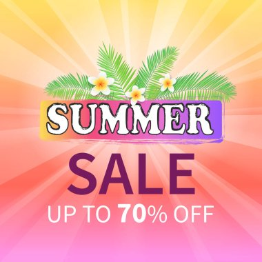 Summer Sale to 70 Percent Off Promo Poster Flower