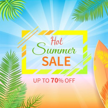 Hot Summer Sale Up to 70 Percent Off Promo Poster