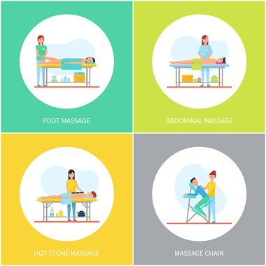 Foot and Abdominal Back Massage Icons Set Vector