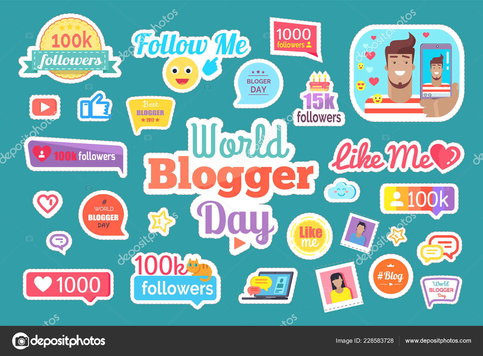 World Blogger Day Follow Button Isolated Stickers Set Vector Male