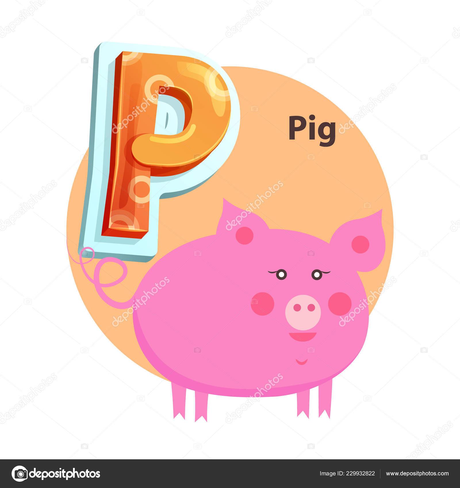 Dessin animé cochon est pour P lettre Kids Zoo