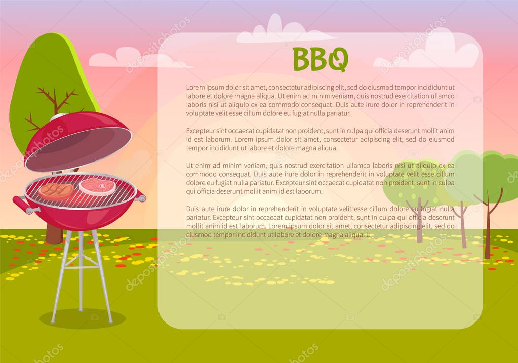 BBQ Poster with Text Nature Vector Illustration