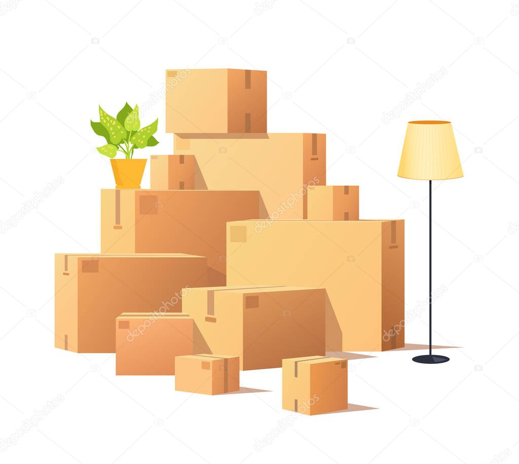 Box Carton, Closed Cardboard Packages Cargo Vector